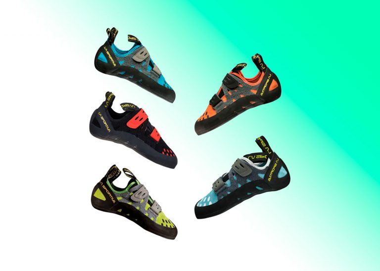 La sportiva climbing shoes tarantula all the different colors on green gradient background